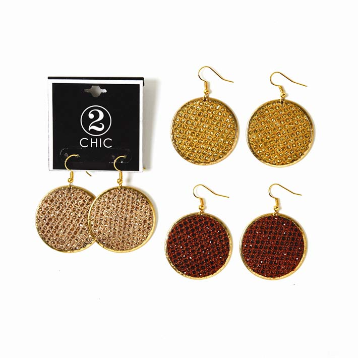 2-Chic Sparkle Disc Earrings