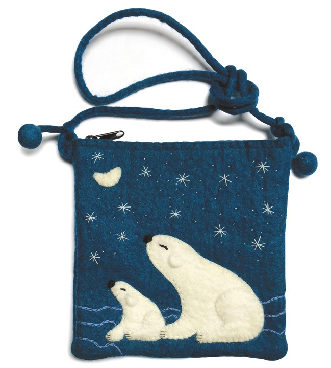 Gamcha Felt Bag, Polar Bears, Aqua Blue and White