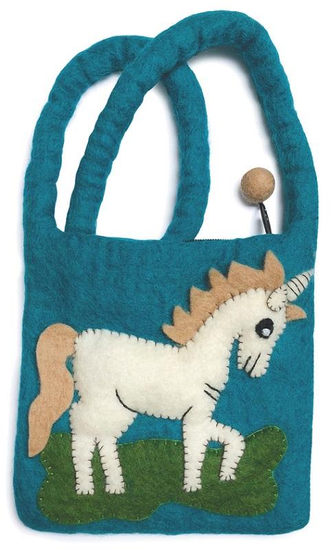 Gamcha Felt Bag, Unicorn, Blue and White