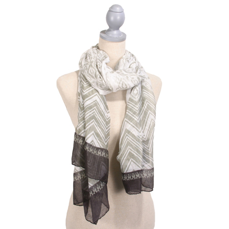 Block Print Scarf, Gray and White
