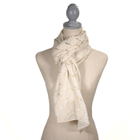 Diamond Glamour Scarf, Ivory and Gold