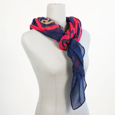 Laurie Scarf - Navy, Red, and Camel