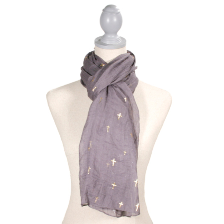 Cross Glamour Scarf - Charcoal and Gold