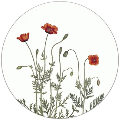 Koustrup & Co. Drink Coasters - Poppy, Round (set of 4)