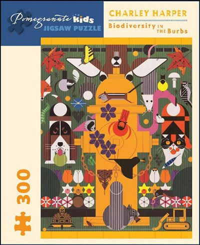 Charley Harper 300 Piece Puzzle, Biodiversity in the Burbs