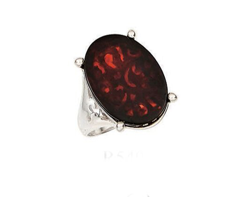 Vessel Ring, Stella - Cherry Amber Oval (Size: 8)